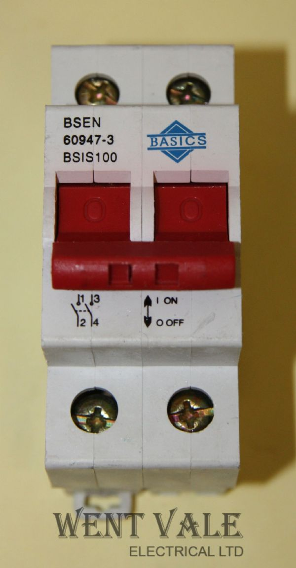 Basics BSIS100 - 100a Double Pole Switch Disconnector Used